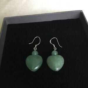 Heart AVENTURINE Green Agate and Silver drop&dangle  Earrings