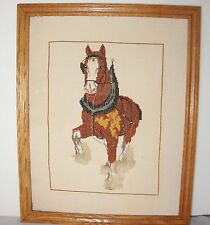 Clydesdale Horse Completed 3D Cross Stitch Framed 16x20