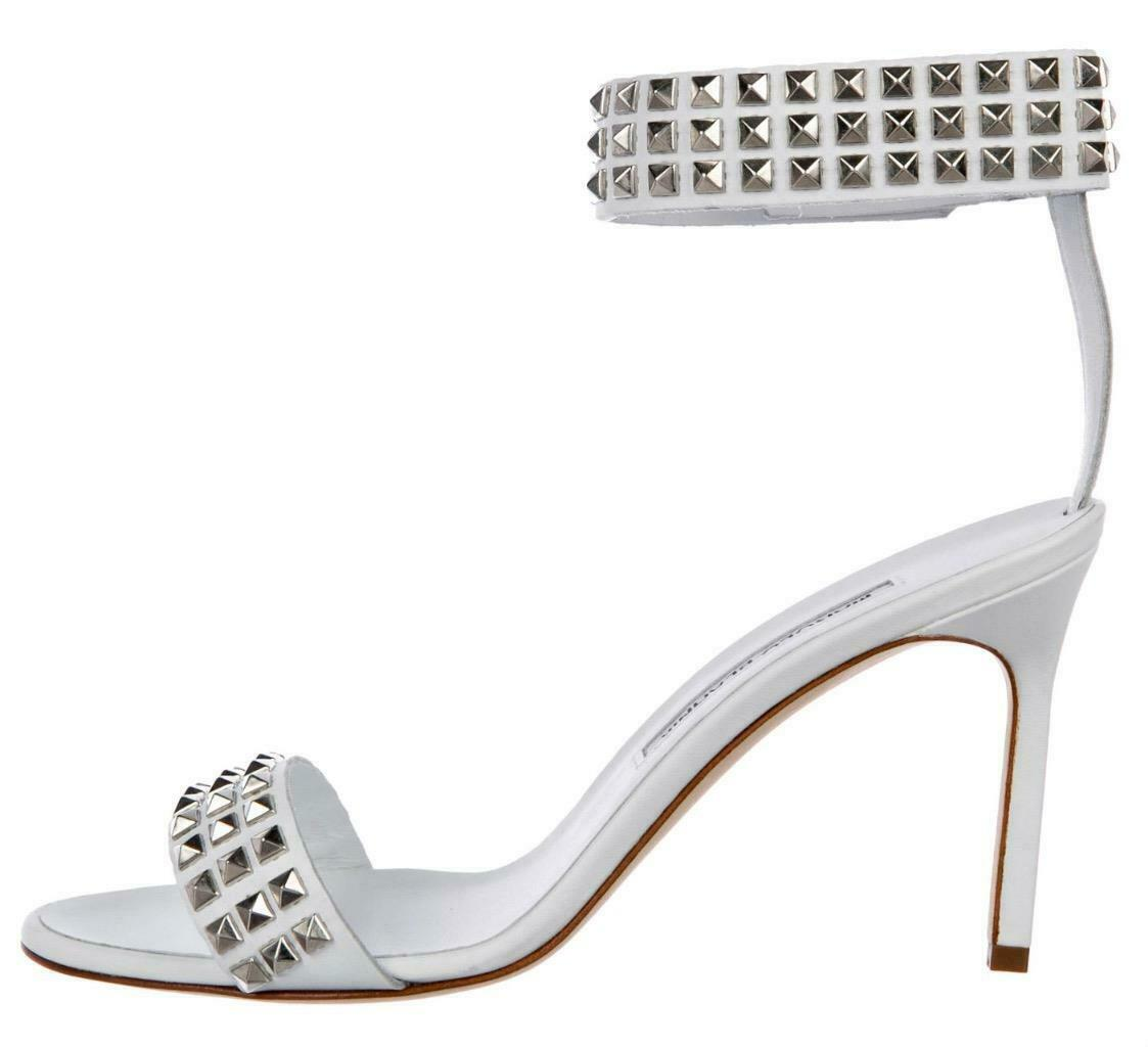 825 NIB New MANOLO BLAHNIK White ROCCO Sz 37.5 Studded BB Sandals Heels shoes