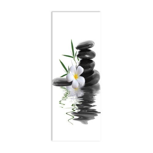 Steine Wandbild Kunst-Druck auf Hart-Glas 30x80 Orchidee SONDERANFERTIGUNG