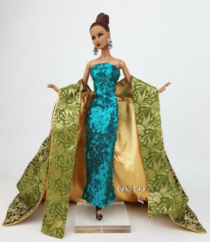 Green Dress Gown Outfit For Silkstone Barbie Fashion Royalty Integrity Toys FR