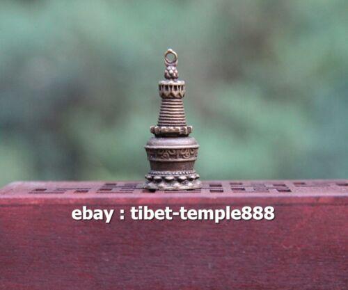 3.5CM Tibet Buddhism Pure Bronze Revolve Open Stupa Dagoba pagoda Amulet Pendant