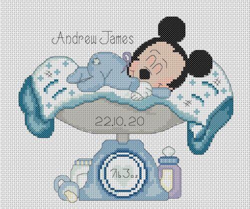 Cross stitch chart New Baby Naissance Échantillonneur Mickey Mouse 2 Flowerpower 37