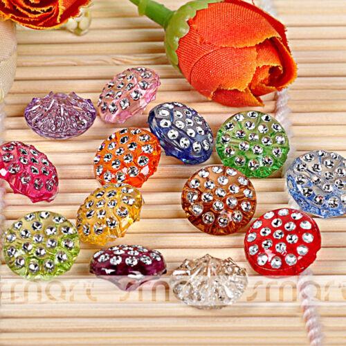 50PCS Mixte Bonbons Couleur Cristal Acrylique Bouton à Coudre Craft Décoration 12.5 mm