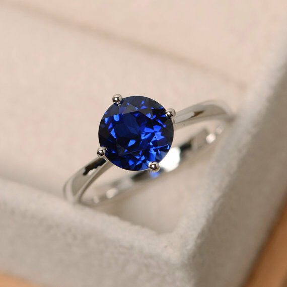 14K White gold 2.00 Ct Round Real bluee Sapphire Engagement Wedding Ring Size 6 8