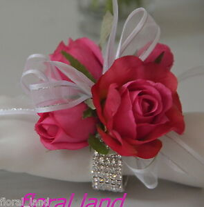 Silk Wedding Flower Hot Pink Roses Wrist Corsage Diamante White
