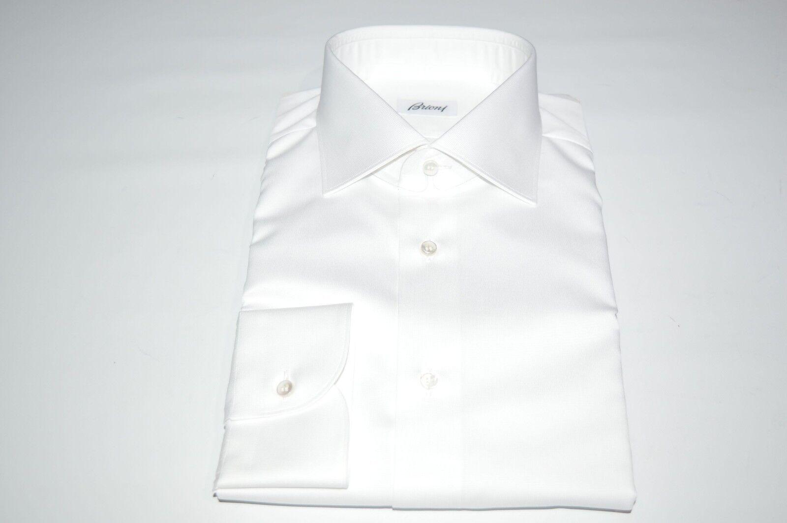 NEW  BRIONI Dress White SHIRT 100% Cotton Size 16.5 Us 42 Eu  (SE31)