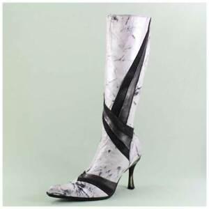 New Rock Stiefel Gr. 38 Lederstiefel weiß schwarz Echtleder (#3482)