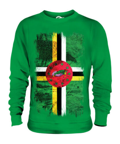 DOMINICA GRUNGE FLAG UNISEX SWEATER TOP DOMINICAN SHIRT FOOTBALL JERSEY GIFT
