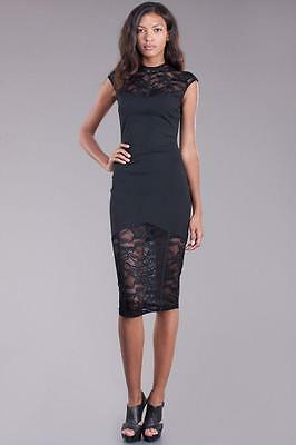 Black Lace High Neck Victorian Goth Vamp Evening Pencil Midi 211 mv Dress S M L