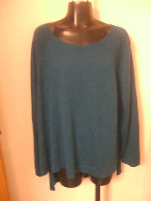 Eileen Fisher Nuevo Con Etiquetas   218 XL Top de cuello de ballet azul del armazón Tencel algodón orgánico Seda  nuevo sádico