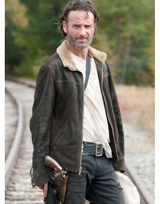 THE WALKING DEAD RICK GRIMES ANDREW LINCOLN 100/% SUEDE LEATHER JACKET BIG SALE