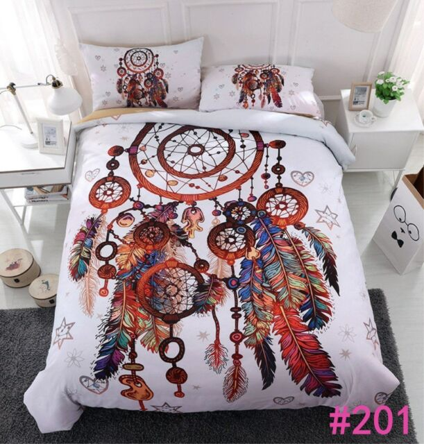 3D Dream Catcher with Feathers Duvet Cover Bohemian Style Bedding Set Pillowcae