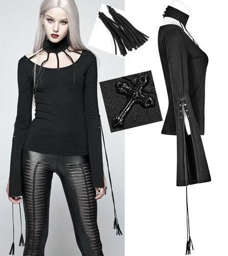 Haut top gothique punk lolita fendu laçage crucifix pampilles fashion PunkRave