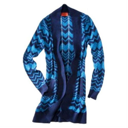 Missoni Maglia lungo Maglione Cardigan con   Tasche Blu tramite Gallone