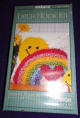 "SUNSHINE RAINBOW Latch Hook Kit NIB smiley face sun w/heart  12"" x 12"" NEW"