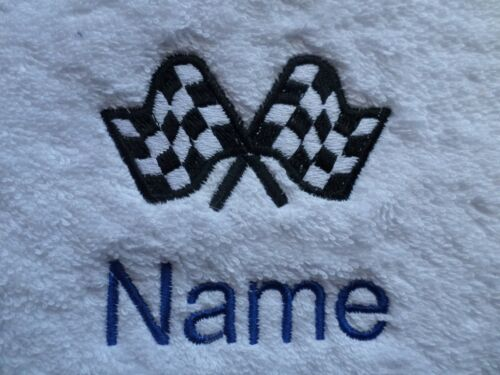 RACING FLAG design Embroidered on Towel Bath Robe Hooded with Personalised name