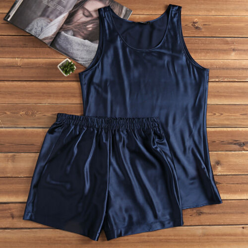 Men Faux Silk Satin Loose Pajamas Nightwear Vest Shorts Set Sleepwear Loungewear