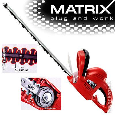 610 mm Elektro Heckenschere Strauchschere  600 Watt bis 20mm Matrix HT 601-610 M