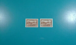 (2) Canada Stamp #268 Eastern Farm Scene 1946 8c 2x