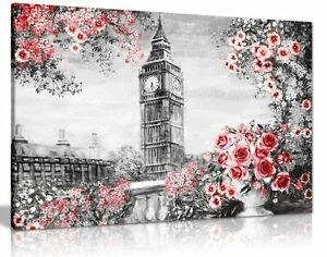 Image Is Loading London Oil Painting Black White Red With Roses