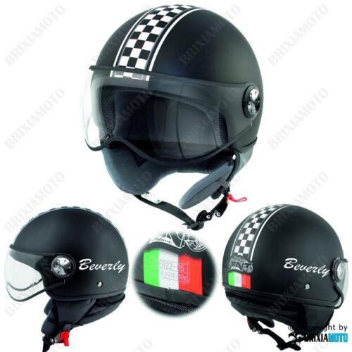 HELMET DEMI JET HELMET MOTO APPROVED SATIN CHESSBOARD ITALY PIAGGIO BEVERLY