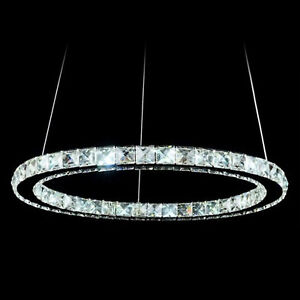 Image is loading Modern-12W-LED-Crystal-Pendant-Oval-Ring-L&- & Modern 12W LED Crystal Pendant Oval Ring Lamp Ceiling Light Fitting ...
