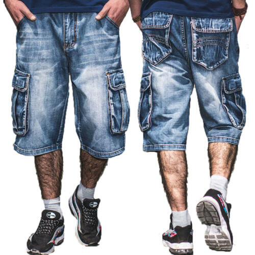 Herren Cargo Jeans Shorts Kurze Hose Stretch Denim Bermuda Jeans shorts