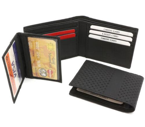 Detachable Flap Bifold Black Genuine Leather Wallet Mesh Chain-Link Design