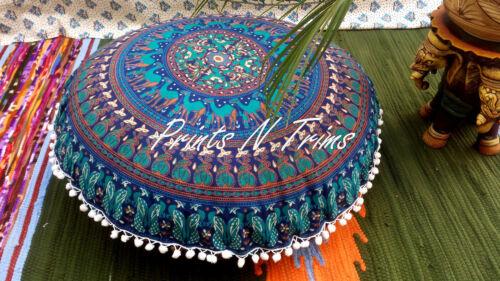Large Blue Round Mandala Floor Cushion Cover Decorative Ethnic Poufs Beach Towel