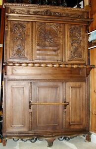 ANTIQUE-FURNITURE-ENTRYWAY-CLOTH-COAT-HAT-CRACK-WOODEN-BEECH-HAND-CARVED