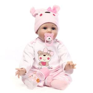 22inch Handmade Reborn Newborn Gift Lifelike Soft Vinyl Silicone Baby Doll Q0I9K