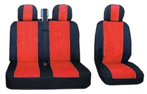 appuie-tête protecteur couvre pour CITROEN JUMPER JUMPY Noir//Rouge 2+1 siège avant