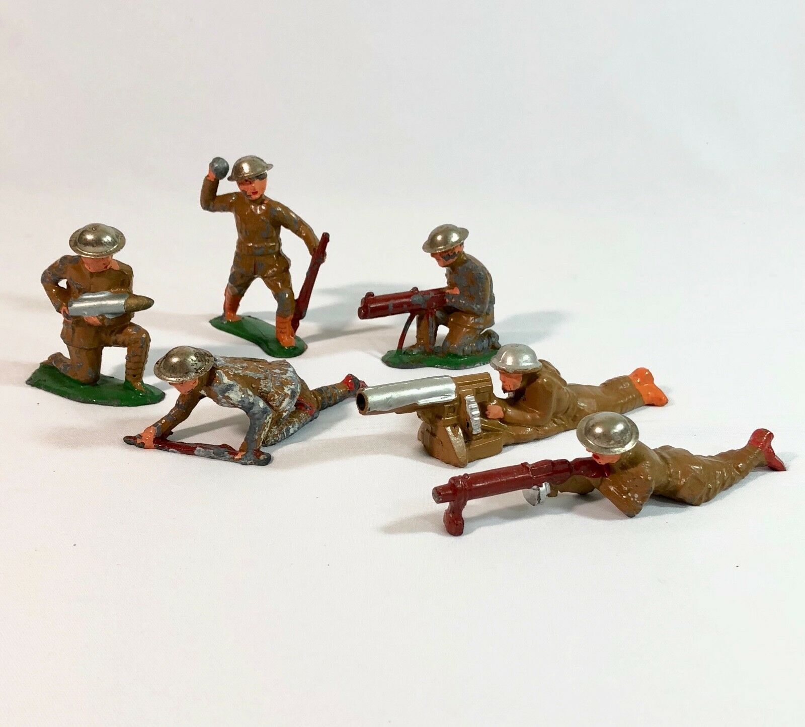 Vintage 1930-40s Barclay Manoil Lead Soldier WWI Lot of 6 All w Weapons