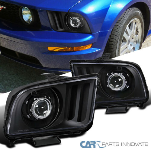 05-09 Ford Mustang GT Black Projector Headlights Head Lights Lamps Left+Right