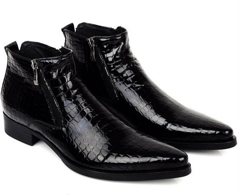 Genuine Leather Dress Formal Mens Pointy Toe Wedding Ankle Boots Party shoes sz@