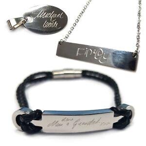 Details zu Graviert Handschrift Personalisiertes Schmuck Etiketten Armband Halskette