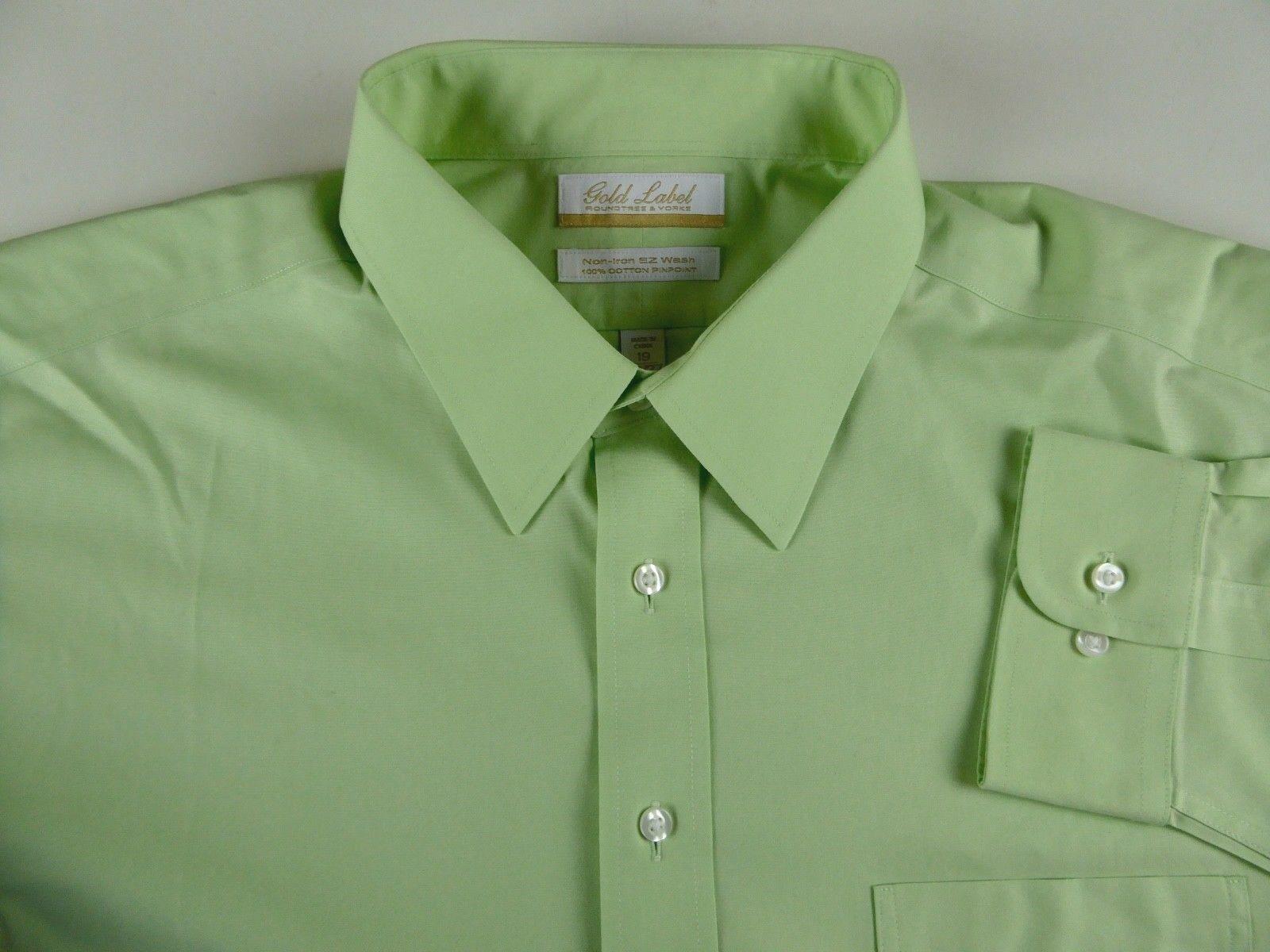 Roundtree & Yorke gold Label Non Iron EZ Wash Dress Shirt NWT 75 Pinpoint Cotton