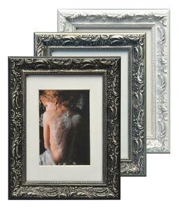 chic baroque bilderrahmen aus holz 13x18 bis 50x70 wei. Black Bedroom Furniture Sets. Home Design Ideas