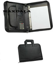 3 Ring Binder Zippered Padfolio Briefcase Binder Notepad Calculator Organizer