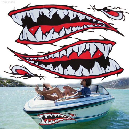 D143 Shark Teeth Decal Window Bumper Scratch Cover 36.5cm Bone Car Sticker