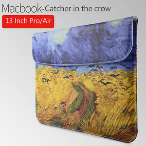 Van-Gogh-Laptop-PU-Leather-Sleeve-Carry-Case-Cover-Bag-13-inch-Catcher-in-Crow