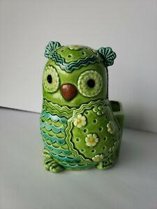 Vintage-Lefton-Green-Owl-Ceramic-Planter-H6818-Extremely-Rare-MCM