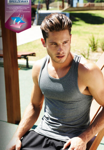 Men/'s Sports Athletics Singlet with Sun Protection and anti bacterial treatment