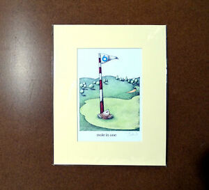 Mole-in-One-Golf-Simon-Drew-Print-Mounted-Matted-Signed-Entertaining-Art