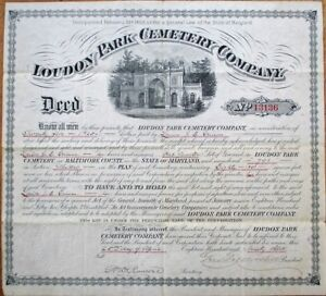 Loudon-Park-Cemetery-Baltimore-MD-THREE-1876-1893-1896-Large-Deeds-Certificates