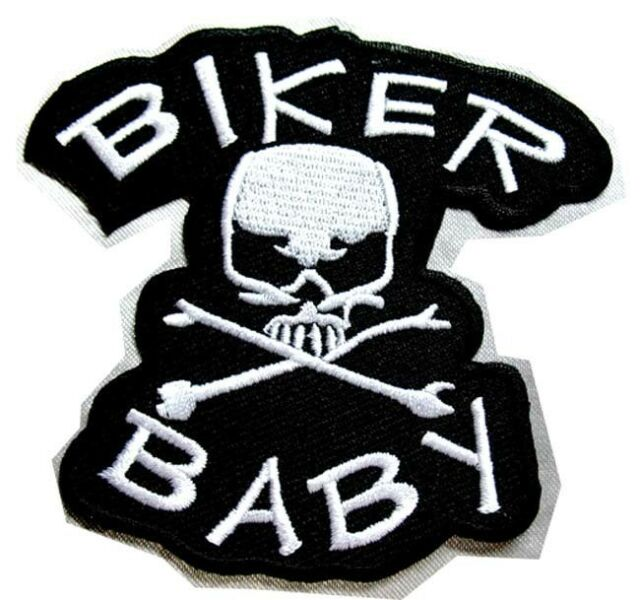 SKULL CROSSBONE BIKER BABY MOTORCYCLE Embroidered Iron on Patch Free Shipping