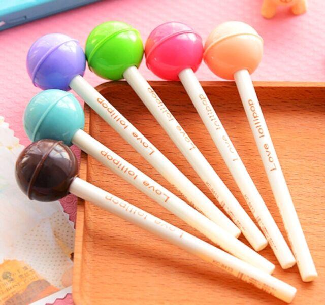FD2393 Sweet Candy Color Lollipop Pen Ballpen Pencil Kawii Stationery Gift 1pc