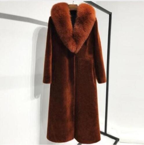 100/% Cashmere Long Coat Women Warm Winter Parkas Outwear Jacket Real Fur Collar
