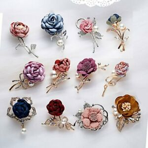 Charm-Crystal-Pearl-Brooch-Pin-Cloth-Flower-Lapel-Banquet-Women-Wedding-Gifts